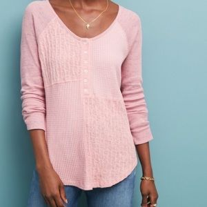 Saturday Sunday Anthropologie Pink Waffle Knit Top